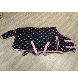 "Horze Horze Med Weight Blanket Blk w/Pink Crowns 60"""