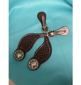 Spur straps w/antiqued silver conchos