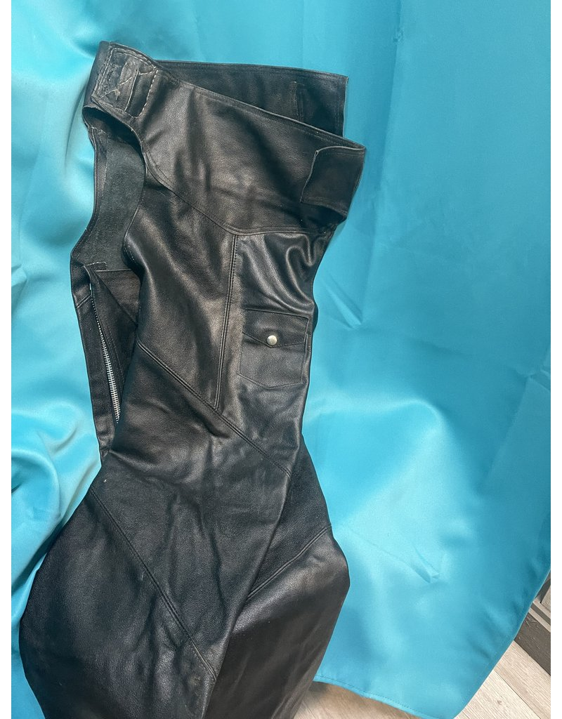 Youth Large Black Leather Chaps