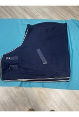 "66"" Wool Show Cooler Blanket Navy w/Beige Trim"