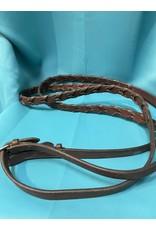 Dark oiled laced reins