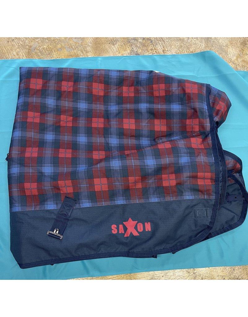"Saxon Saxon Winter Blanket Blue and Red Plaid 76"""