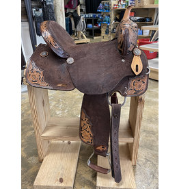 """Circle J 15"""" Circle J  Leather Saddle Chocolate Rough Out American Made"""