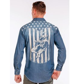 Panhandle Long Sleeve Button Up Denim Flag