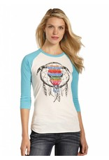 Rock and Roll Cowgirl 3/4 Sleeve Tee Dreamcatcher Skull