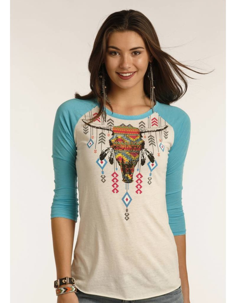 Rock and Roll Cowgirl 3/4 Sleeve Tee Aztec Steer Skull