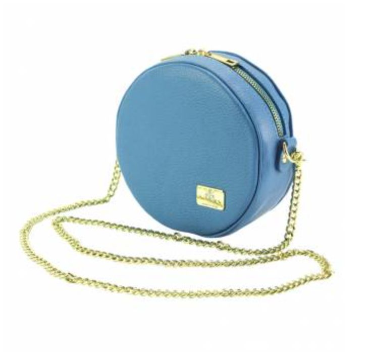 VinetteRose VRB: Lucia - Round Crossbody - Gold Chain (Blue/Cyan)