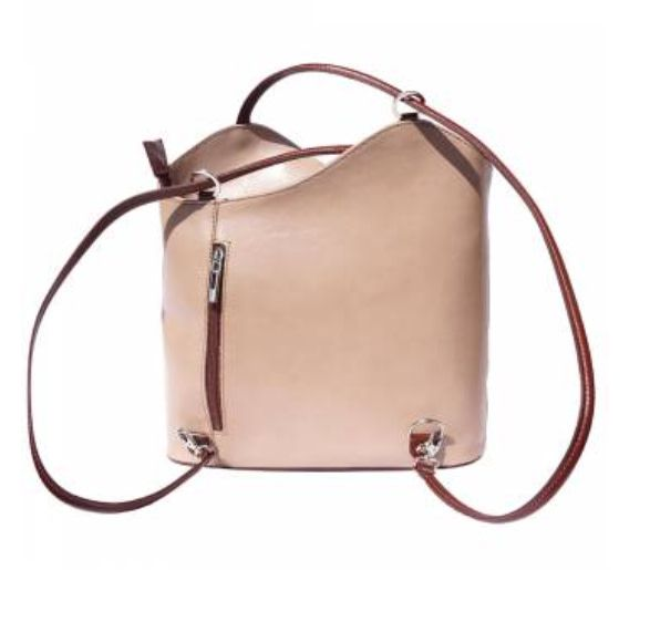 VinetteRose VRB: ILARIA - Light Taupe/Brown Convertible Leather Bag