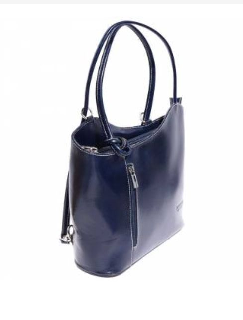 VinetteRose VRB: ILARIA - Dark Blue Convertible Leather Bag