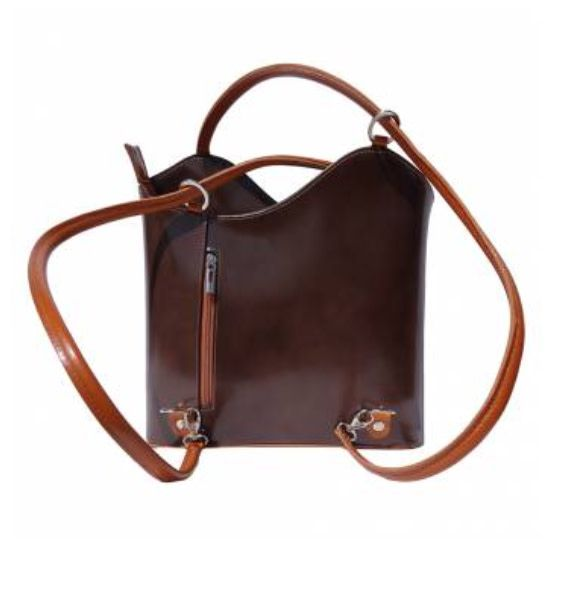 VinetteRose VRB: ILARIA - Dark Brown/Tan Convertible Leather Bag