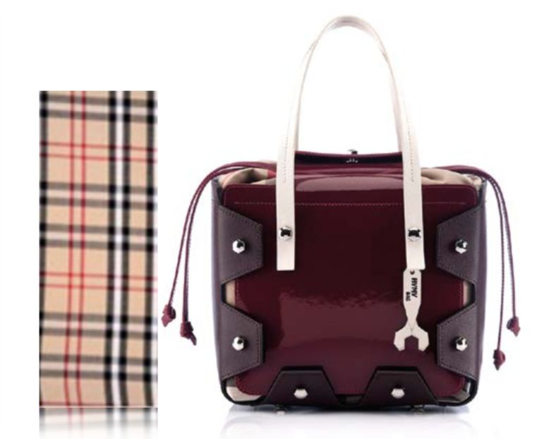 HYMY HYMY: LEATHER London Diana Vernice Ruby Bag Maroon/Beige; Nikel Accessories; Cotton Lining