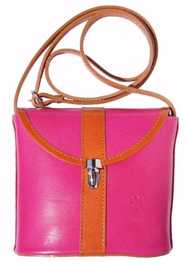 VinetteRose VRB: Ava Crossbody, Hard Leather Bag, Fuscia/Tan