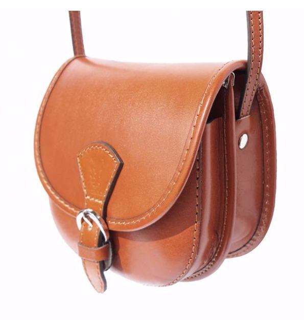 VinetteRose VRB: AMELIA- Leather, Cross-body Bag, Saddle