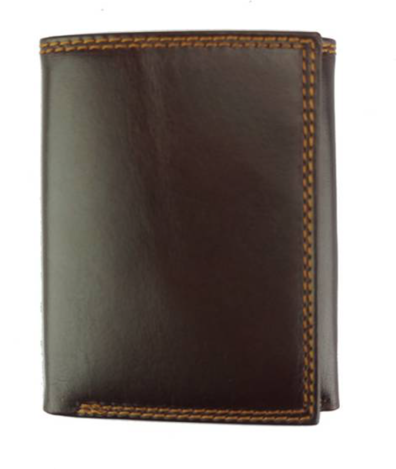 VinetteRose VRB: TRIFOLD - Men's Italian leather wallet - Dark Brown