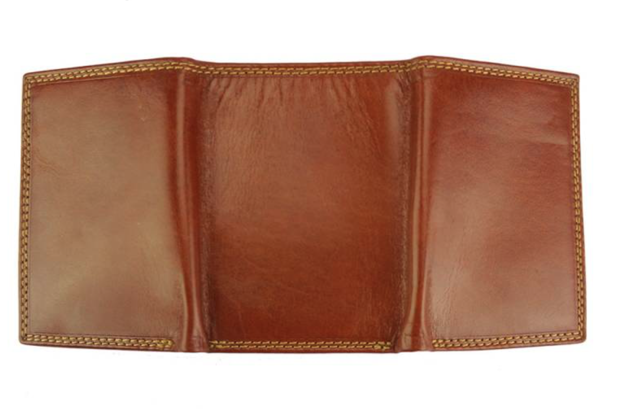VinetteRose VRB: TRIFOLD - Men's Italian leather wallet - Medium Brown (CUOIO)