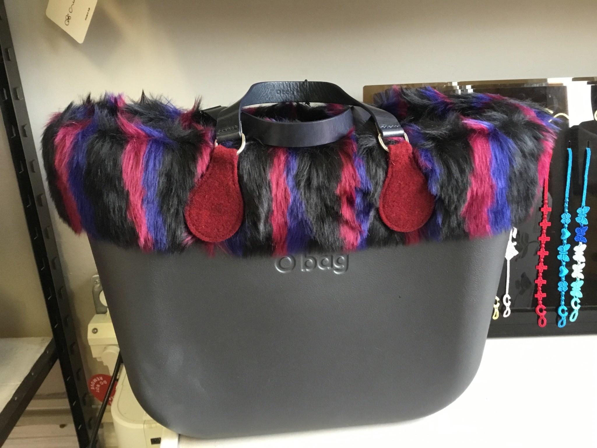 Obag - LG. Black - Black multistripe faux fur - short black felt end handle