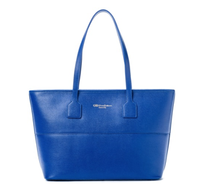 Cruciani Shopping Bag Saffiano Tote with Zip, Large Navy