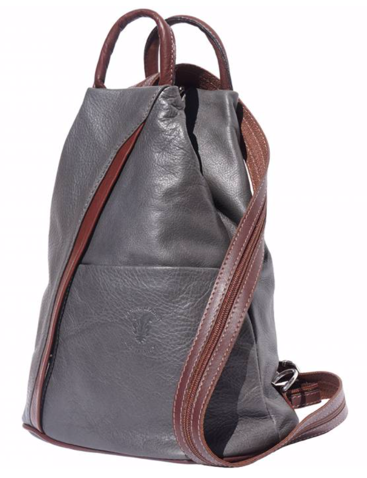 VinetteRose VRB: VIENNA Leather Backpack - GRY/BRN