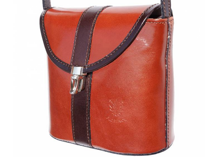 VinetteRose VRB: AVA Crossbody, Hard Leather, Brown/Dk. Brown Trim