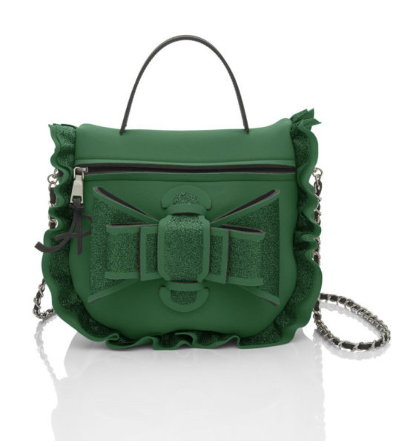 AP (Art Pelle) AP: NEOprene - Linea Lumiere Shoulder Cherie w/ bow  (SMALL) - Green w/ Black Ruffle