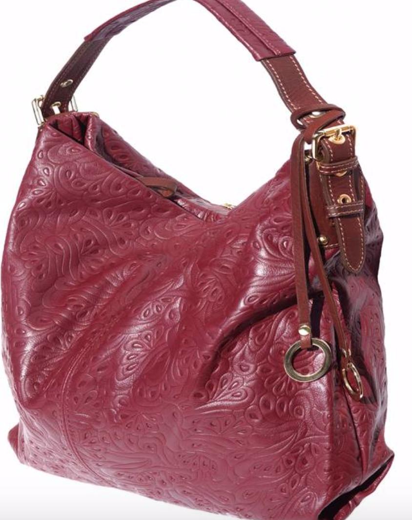 VinetteRose VRB: GIANNA - Embossed Leather - Burgundy/Brown
