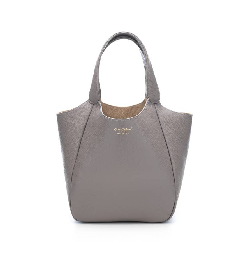 Cruciani Milano City Calfskin Bag, Small Dove Gray