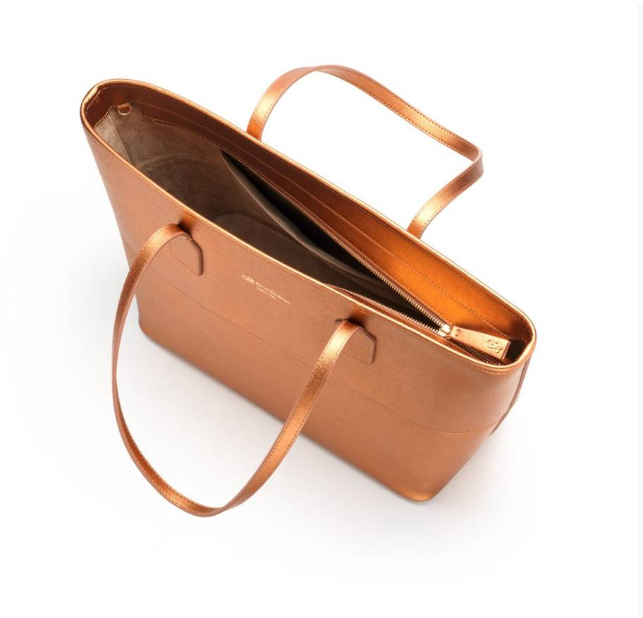 Cruciani Shopping Bag Saffiano Tote, Large, Bronze