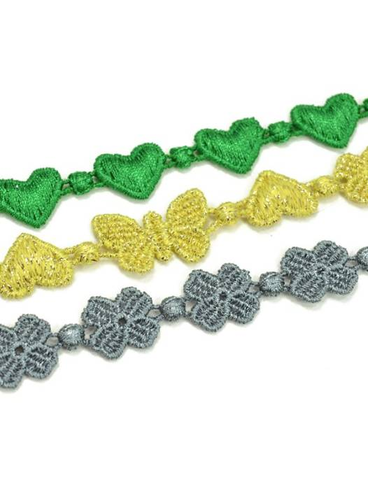 Cruciani Universe Bracelet- Heart, Butterfly and Clover,  Canary Lurex