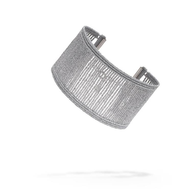 Cruciani Wires Bracelet, Silver Lurex