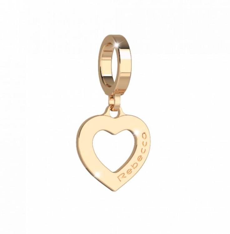 Rebecca Cutout Heart Pendant Charm, Gold