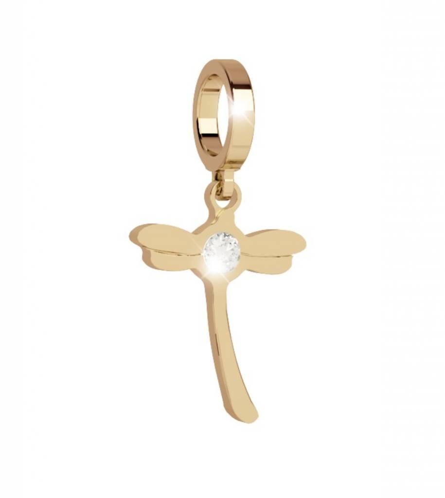 Rebecca Dragonfly Pendant Charm, Gold