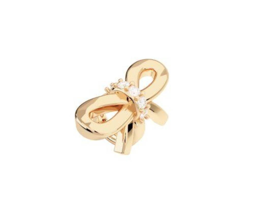 Rebecca Silk Bow Charm  with Stones, Gold