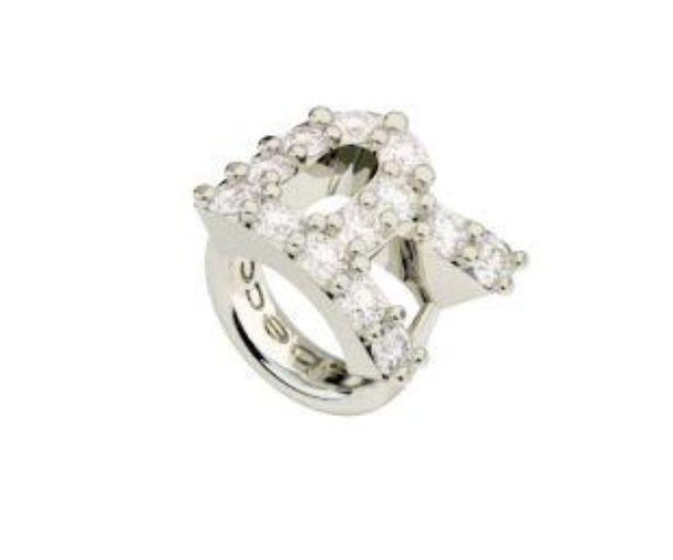 Crystal R Ring Charm, Silver