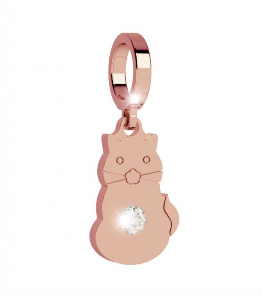 Rebecca Cat with Crystal Charm, Rose Gold