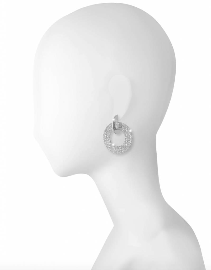 Rebecca Hanging Double Disc Earrings, Silver