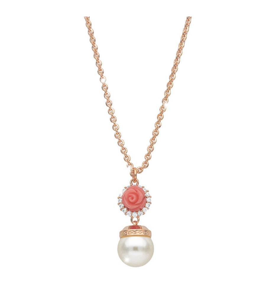 Rebecca Coral Rose Pearl Necklace, Rose Gold