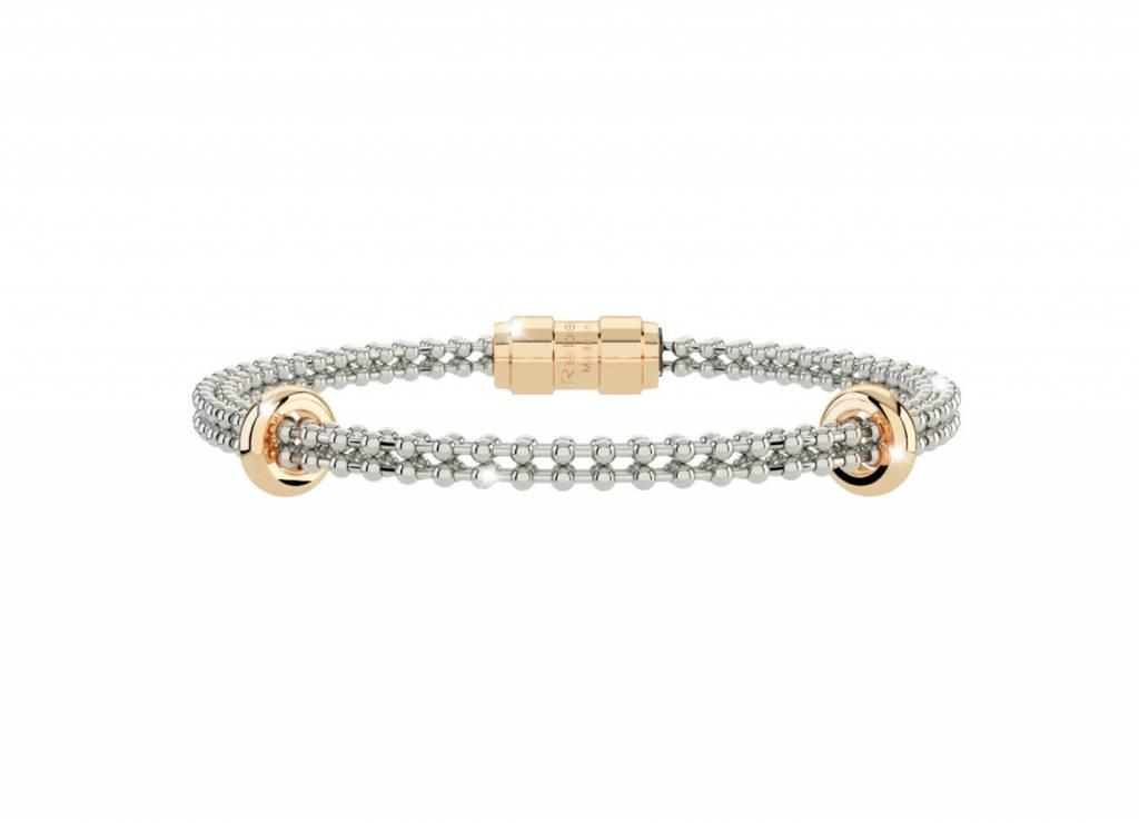 Rebecca Silver Bracelet, Gold Spacers