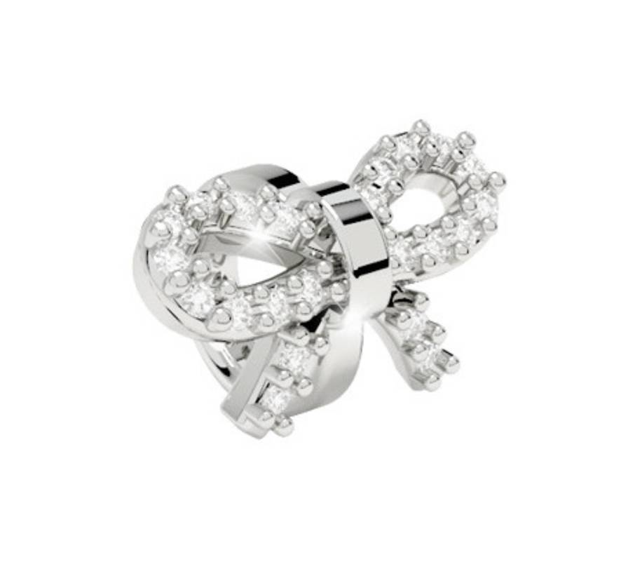 Rebecca Ring Style Bow with Crystals Charm, Silver