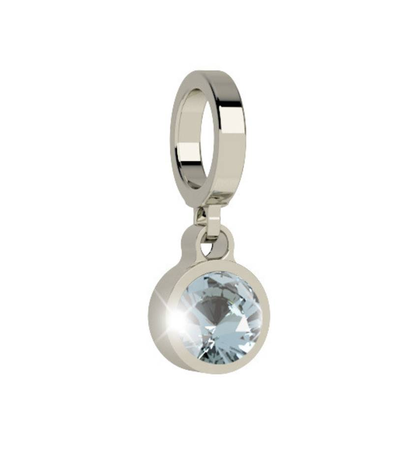 Rebecca Silver Pendant Charm with Blue Crystal