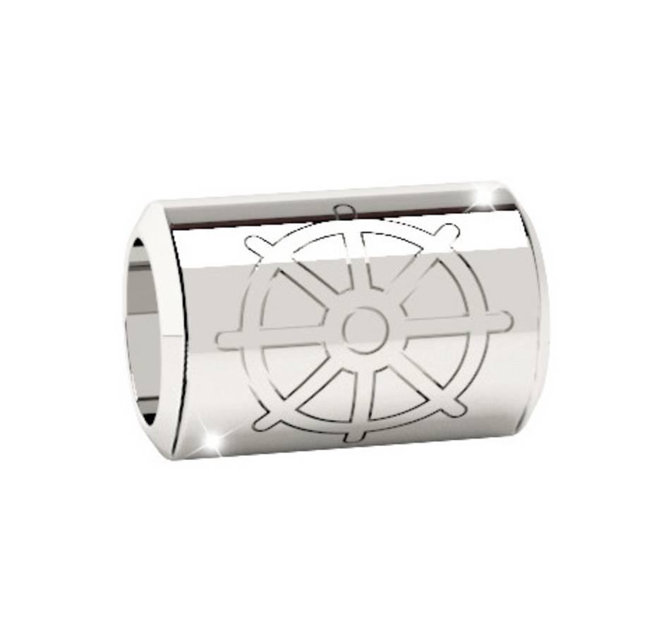 Rebecca Spacer Tube Ship Wheel Charm, Silver