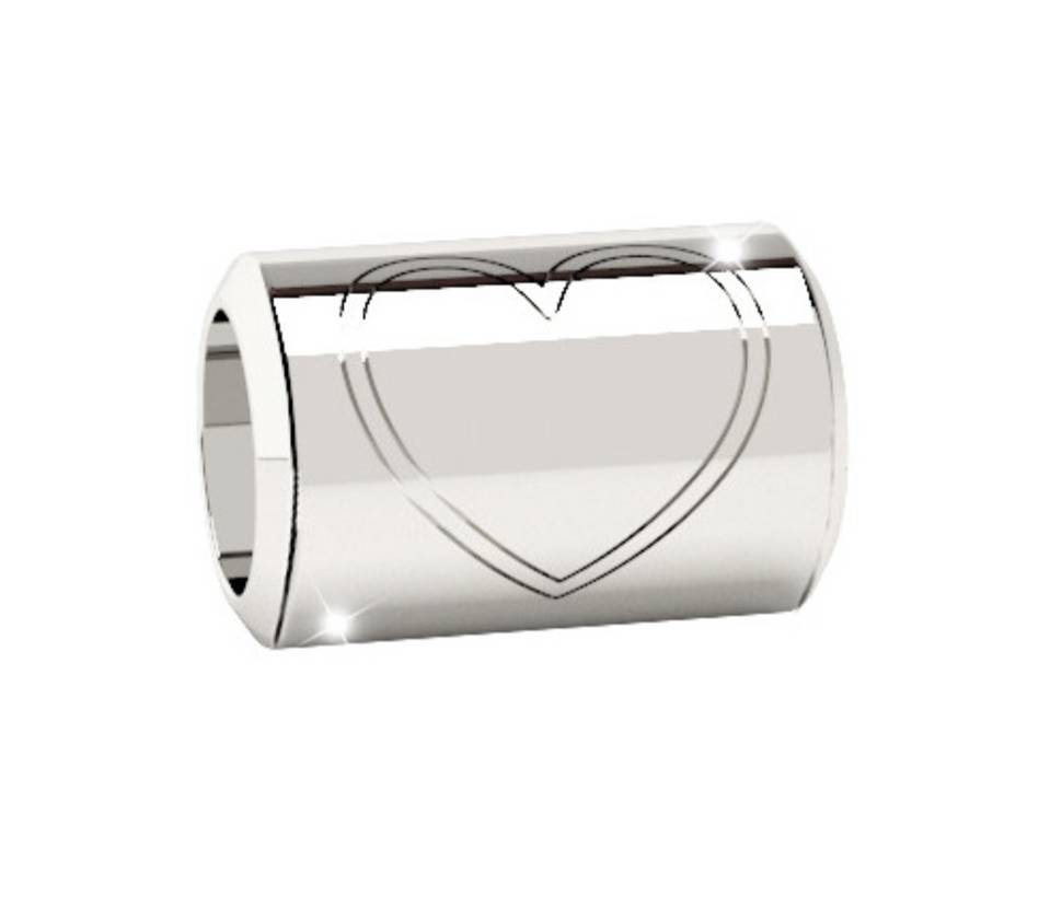 Rebecca Spacer Tube Heart Charm, Silver