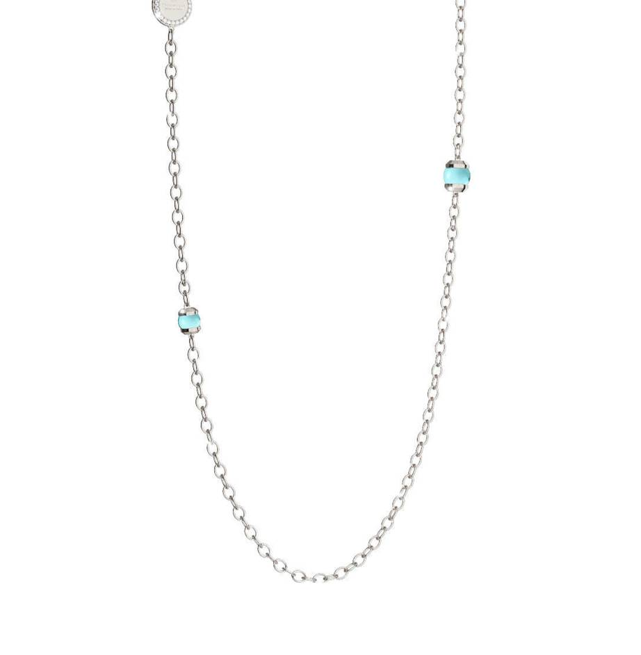 Rebecca Hollywood Stone Necklace, Blue and Silver