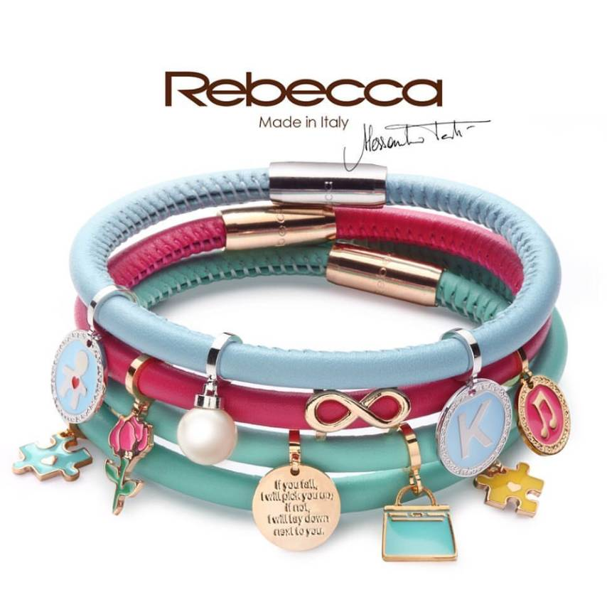 Rebecca Double Wrap Leather Bracelet, Baby Blue