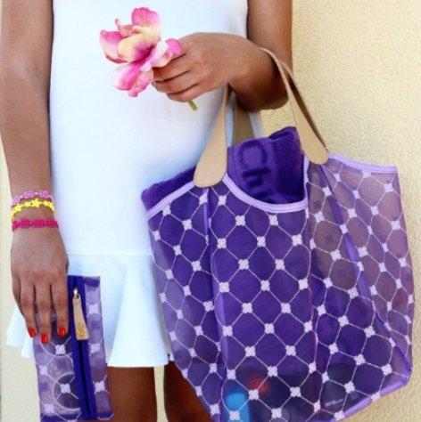 Cruciani Milano City Tulle Bag w/Leather, Large, White/Purple