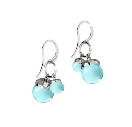 Rebecca Hollywood Stone Blue and Silver Earrings