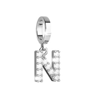 Rebecca Bronze Pendant for Bracelet with Stones - Letter N (Steel)