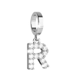 Rebecca Bronze Pendant for Bracelet with Stones - Letter R (Steel)