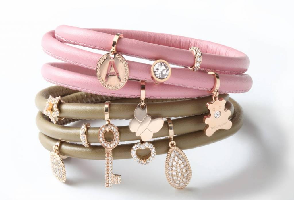 Rebecca Double Wrap Leather Bracelet, Pink