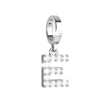 Rebecca Bronze Pendant for Bracelet with Stones - Letter E (Steel)