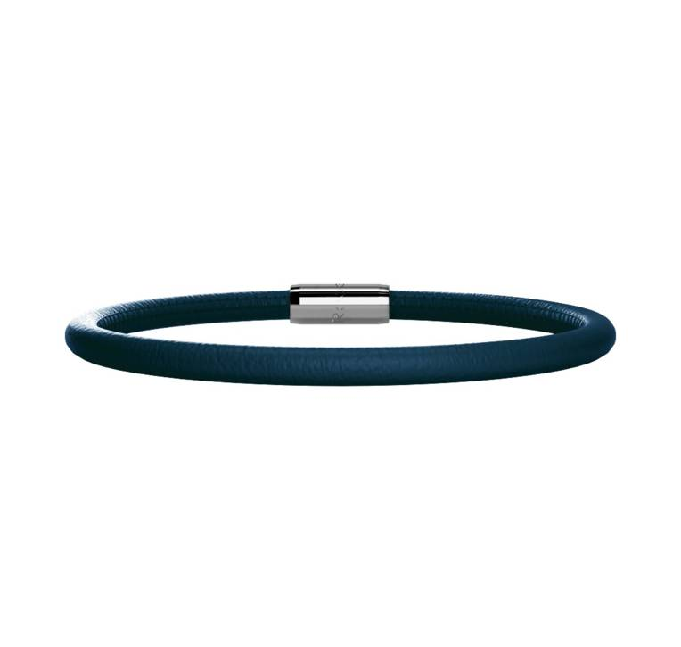 Rebecca Single Wrap Leather Bracelet, Navy